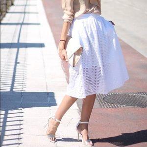 ZARA Eyelet Cotton Midi Skirt